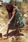 Betty plants her tree for the Guicherds, Avenue of the Righteous, Yad Vashem