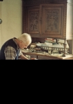 Victor Guicherd at home, Betty's picture always on his sideboard